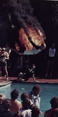 Bellyflopping with fire effect
